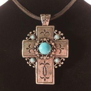 Native American Boho Look Cross Necklace